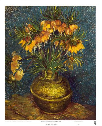 Bell Lilies in a Copper Vase Art Print