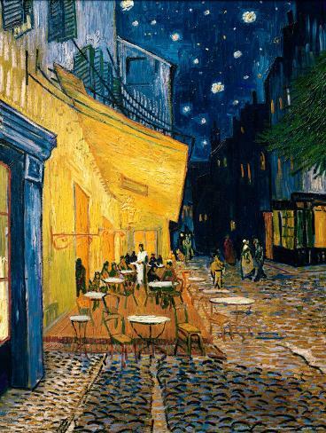Caféterras bij nacht Kunstdruk