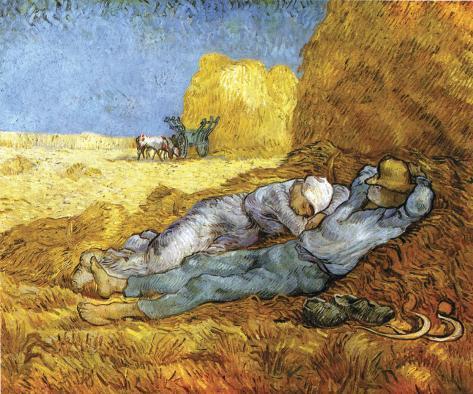 Descanso no meio do dia, após colheita, cerca de 1890 Impressão em tela esticada