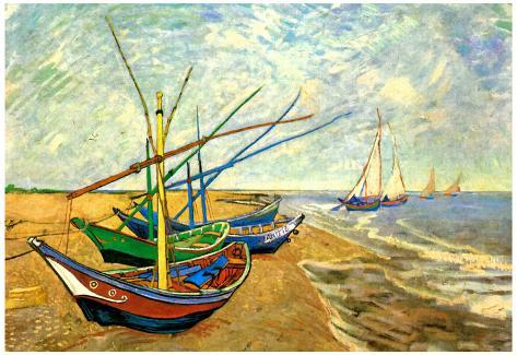 Vincent Van Gogh (Fishing boats on the beach at Saintes-Maries) Art ...