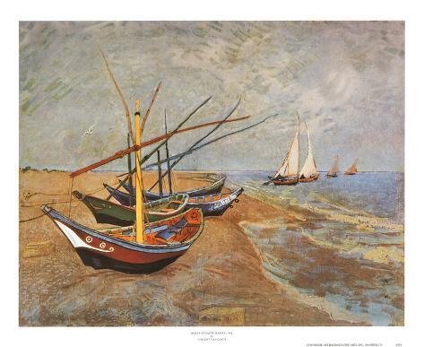 Fishing Boats on the Beach at Saints-Maries, c.1888 Art Print