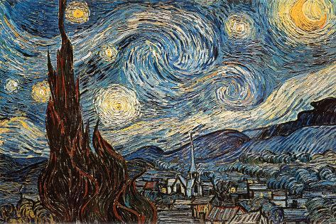 noche estrellada c 1889 p sters por vincent van gogh en. Black Bedroom Furniture Sets. Home Design Ideas