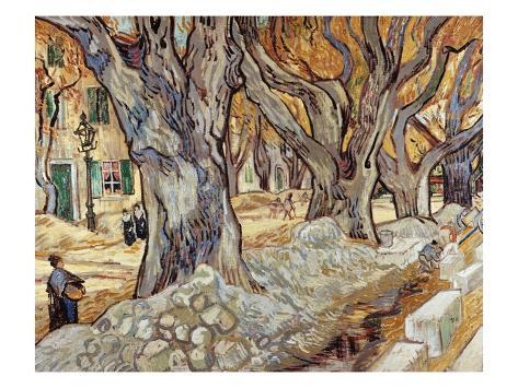 Road Menders in a Lane With Heavy Plane Trees Giclee Print