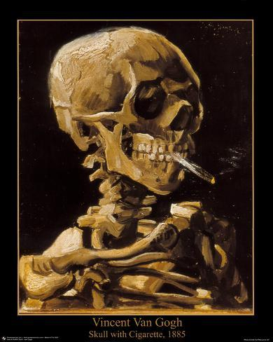 Vincent Van Gogh (Skull with Cigarette, 1885) Art Print Poster Mini Poster