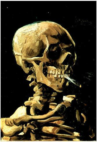 Vincent Van Gogh (Skull with Cigarette) Art Print Poster ポスター