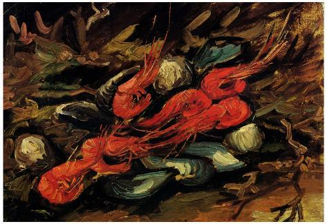 Vincent Van Gogh Still Life with Mussels and Shrimps Art Print Poster Poster