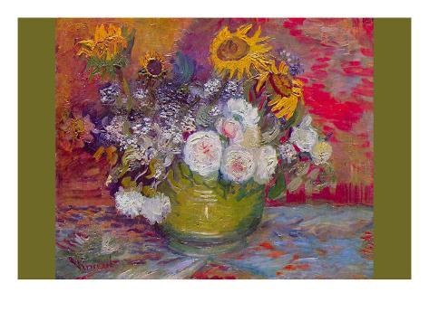 Still-Life with Roses and Sunflowers Art Print