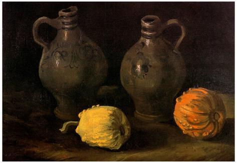 Vincent Van Gogh Still Life with Two Jars and Two Pumpkins Art Print Poster Juliste