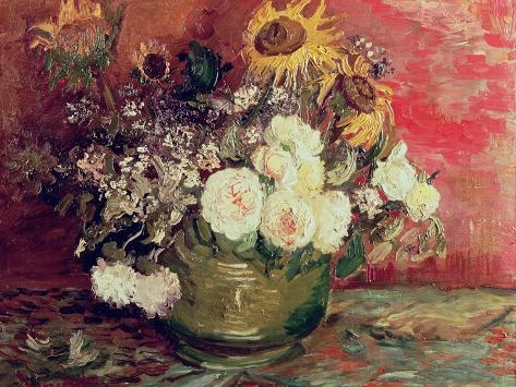 Sunflowers, Roses and Other Flowers in a Bowl, 1886 Lámina giclée