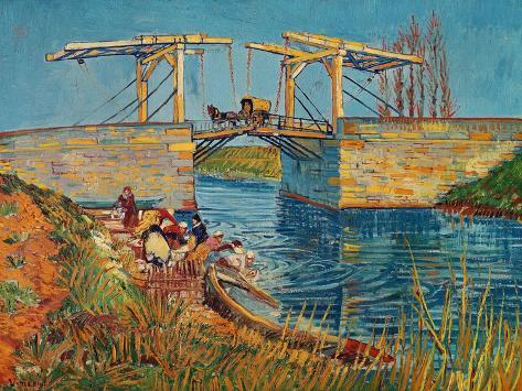 The Drawbridge at Arles with a Group of Washerwomen, c.1888 Giclée-vedos