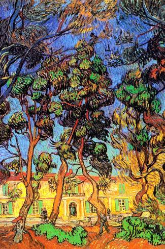 Vincent Van Gogh Trees in the Garden of Saint-Paul Hospital Impressão artística