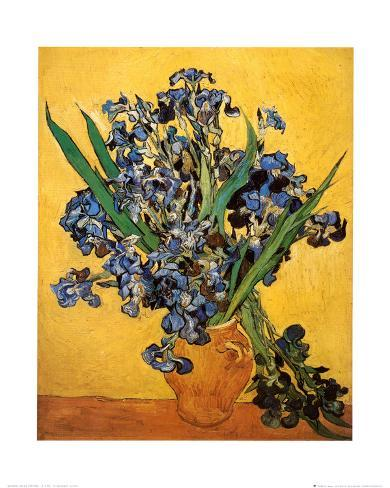 Vase of Irises Against a Yellow Background, c.1890 Art Print