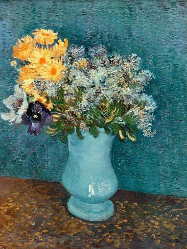 Vase of Lilacs, Daisies and Anemones, c.1887 Giclee Print