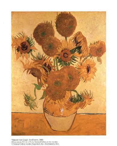 Vase with Fifteen Sunflowers Lámina