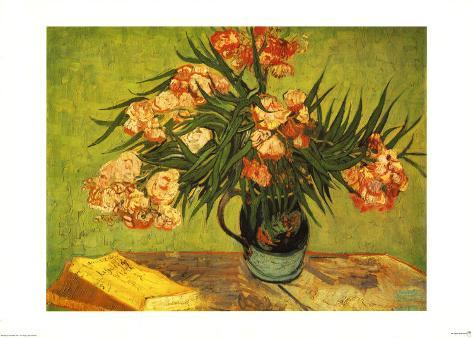 Vase with Oleanders and Books, c.1888 Art Print