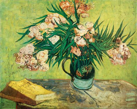 Vase with Oleanders and Books, c.1888 Stretched Canvas Print
