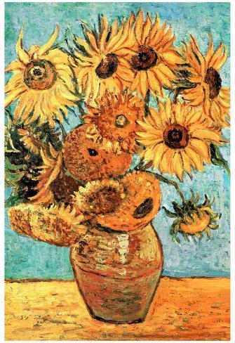 Vincent Van Gogh (Vase with Twelve Sunflowers ) Art Poster Print Poster