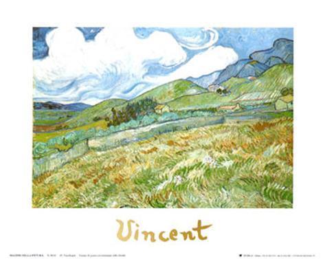 Wheatfield and Mountains, c.1889 Art Print