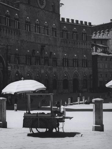 Peddler in the Campo Square in Siena Photographic Print