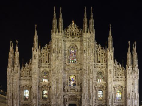 Duomo at Night, Milan, Lombardy, Italy, Europe Photographic Print