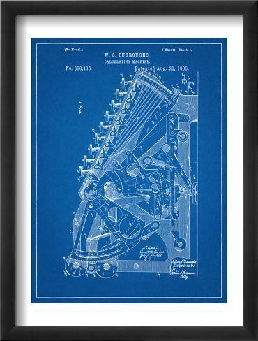 Vintage 1888 Calculator Patent Framed Art Print