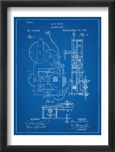 Vintage Alarm Clock Patent 1885 Framed Art Print