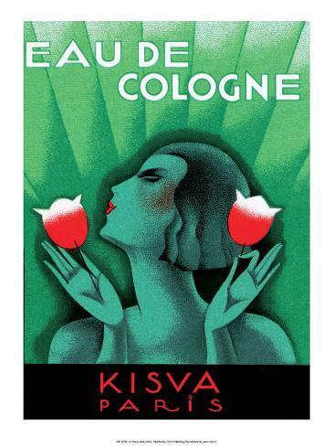 Vintage Art Deco Label, Eau de Cologne, Kaisva, Paris アートプリント