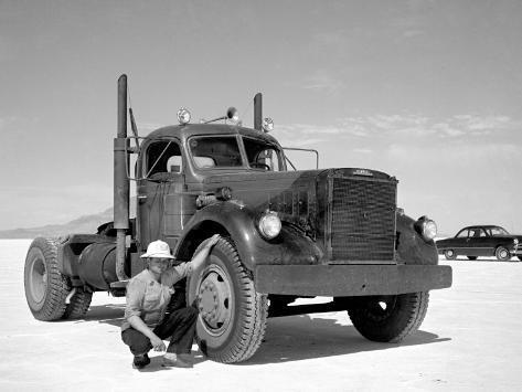 Vintage Bonneville Big Rig Truck Stretched Canvas Print