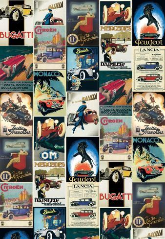 Vintage Cars - Vintage Style Italian Poster Collage Poster