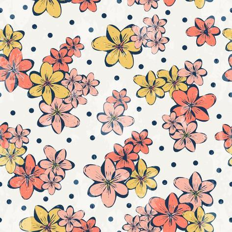 Vintage Flower Pattern Print for T-Shirt, Apparel, Textile or Wrapping. Classic Wallpaper with Flor Stampa giclée premium