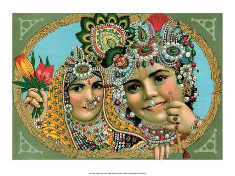 Vintage Indian Bazaar, Lord Krishna with Radha Stampa artistica
