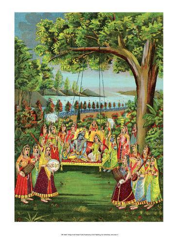 Vintage Indian Bazaar Stampa artistica