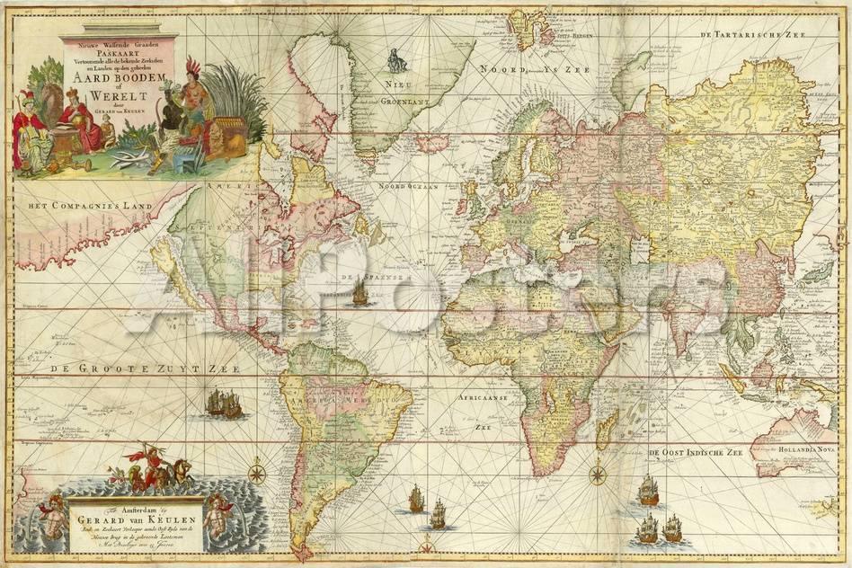 World Map By Gerard Van Keulen Giclee Print By Vintage Lavoie At