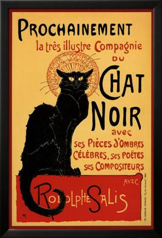 Vintage poster van Zwarte kat: Chat Noir, ca.1896 Lamina ingelijste poster