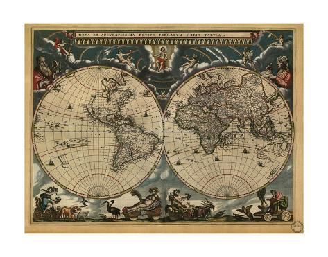 World map 1664 prints by vintage reproduction allposters world map 1664 gumiabroncs Gallery