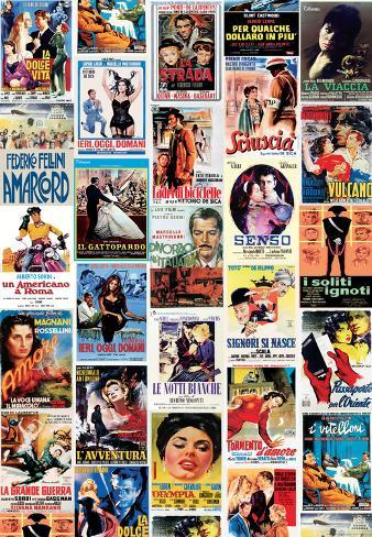 Vintage Style Italian Film Poster Collage