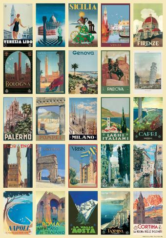 Vintage Style Italian Travel Poster Collage Poster Poster