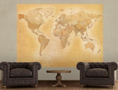 Vintage Style World Map Deco Wallpaper Mural Wallpaper Mural - World map mural wallpaper uk