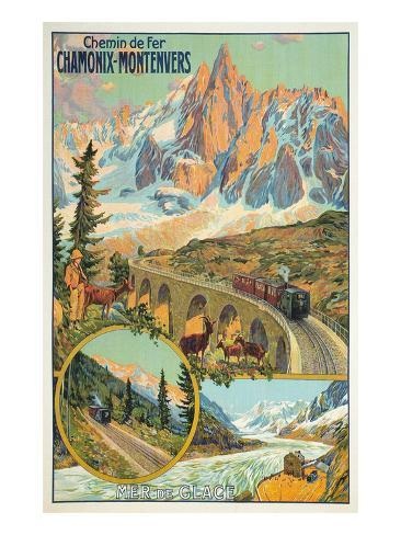 Vintage Travel Poster for Chamonix, France Posters ...