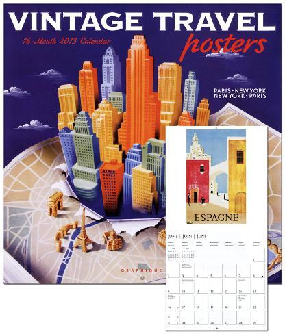 Vintage Travel Posters - 2013 Wall Calendars Calendars