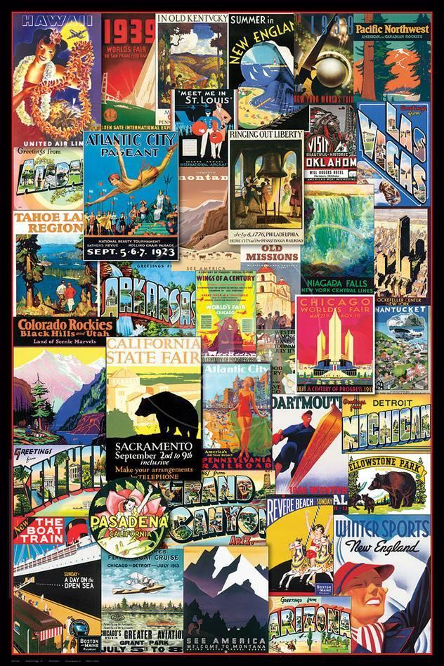 Vintage Us Travel Ads Collage Poster Allposters Com