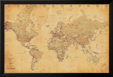 Vintage wereldkaart Lamina ingelijste poster