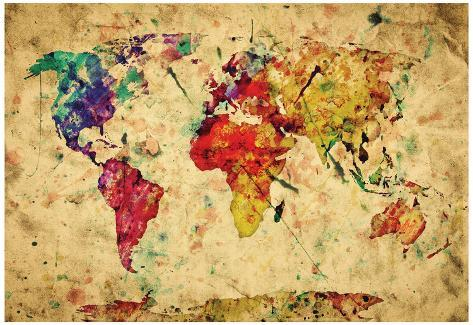 Vintage world map print allposters vintage world map gumiabroncs