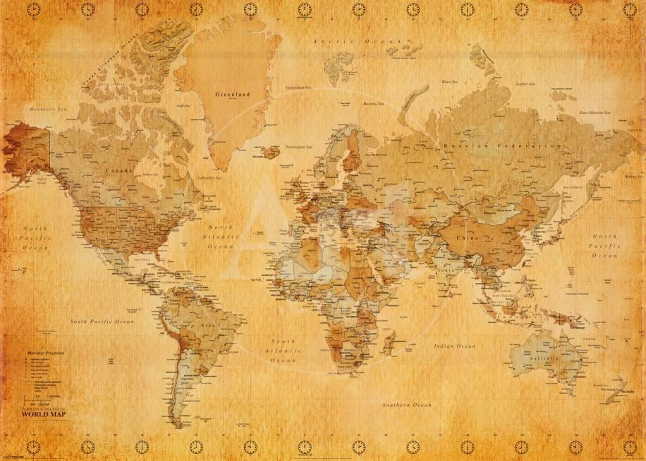 Vintage World Map Print at AllPosters.com