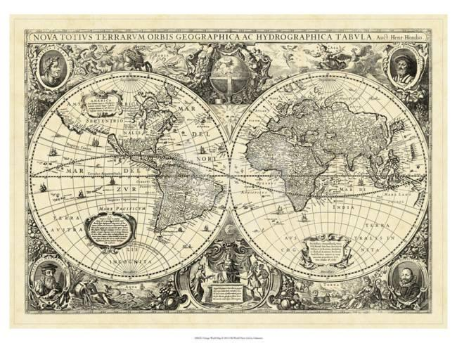 Vintage Looking World Map.Vintage World Map Poster At Allposters Com