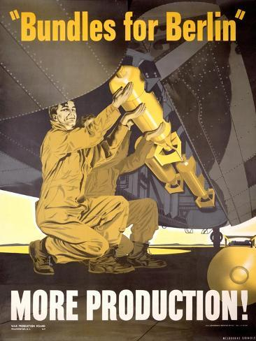 Vintage WWII AAF Bomb War Production Poster Giclee Print