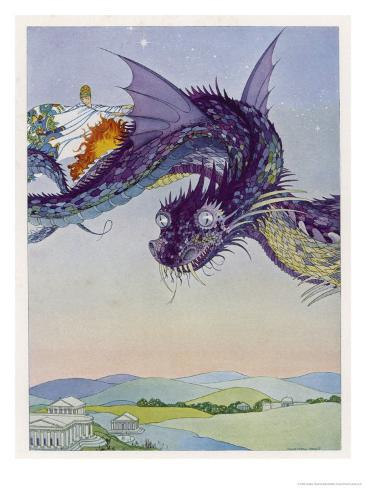 The Sorceress Medea Flies Through the Greek Airspace in Her Serpent-Powered Chariot Giclee Print