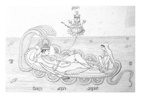 Vishnu and Lakshimi (His Wife) - Hindu Gods Lámina giclée
