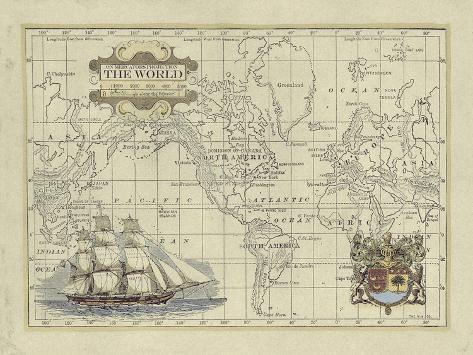 Antique Map of the World Art Print