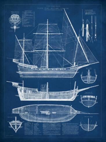 Antique ship blueprint i print by vision studio allposters antique ship blueprint i malvernweather Gallery